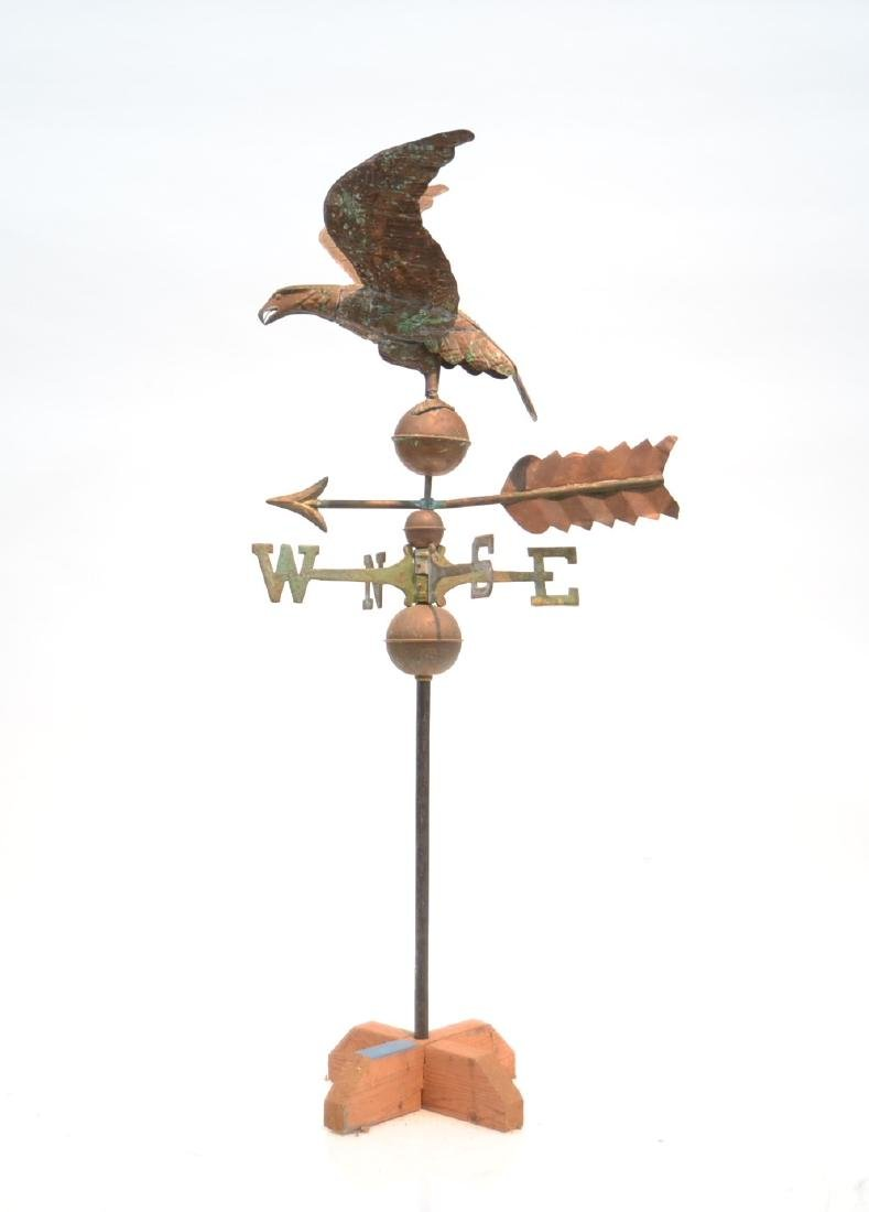 LARGE COPPER EAGLE WEATHER VANE WITH