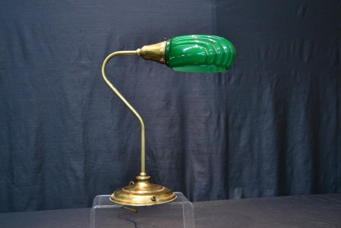 BRASS DESK LAMP WITH GREEN GLASS SHADE - 2