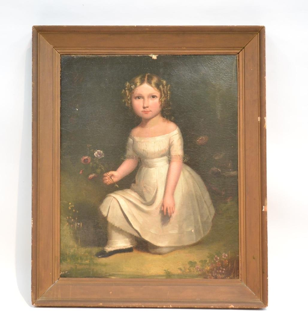 19thC OIL ON CANVAS PORTRAIT OF GIRL WITH FLOWERS