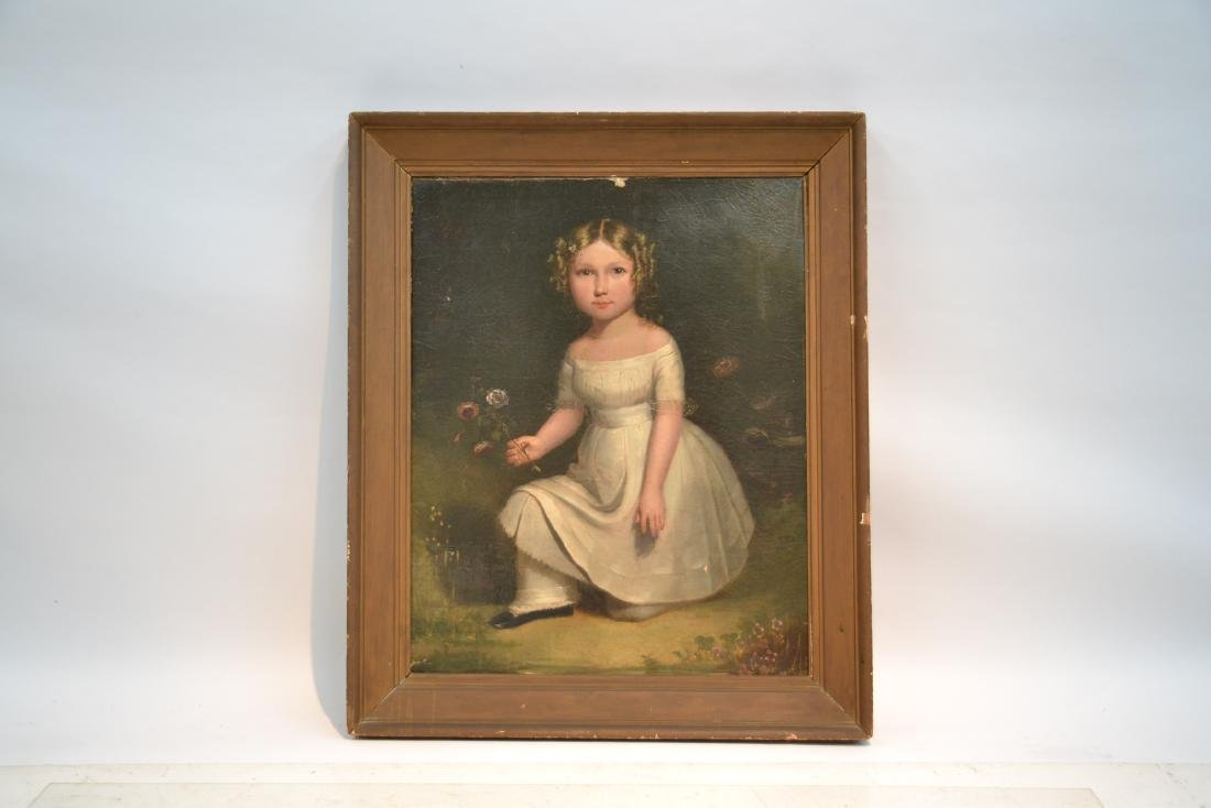 19thC OIL ON CANVAS PORTRAIT OF GIRL WITH FLOWERS - 2