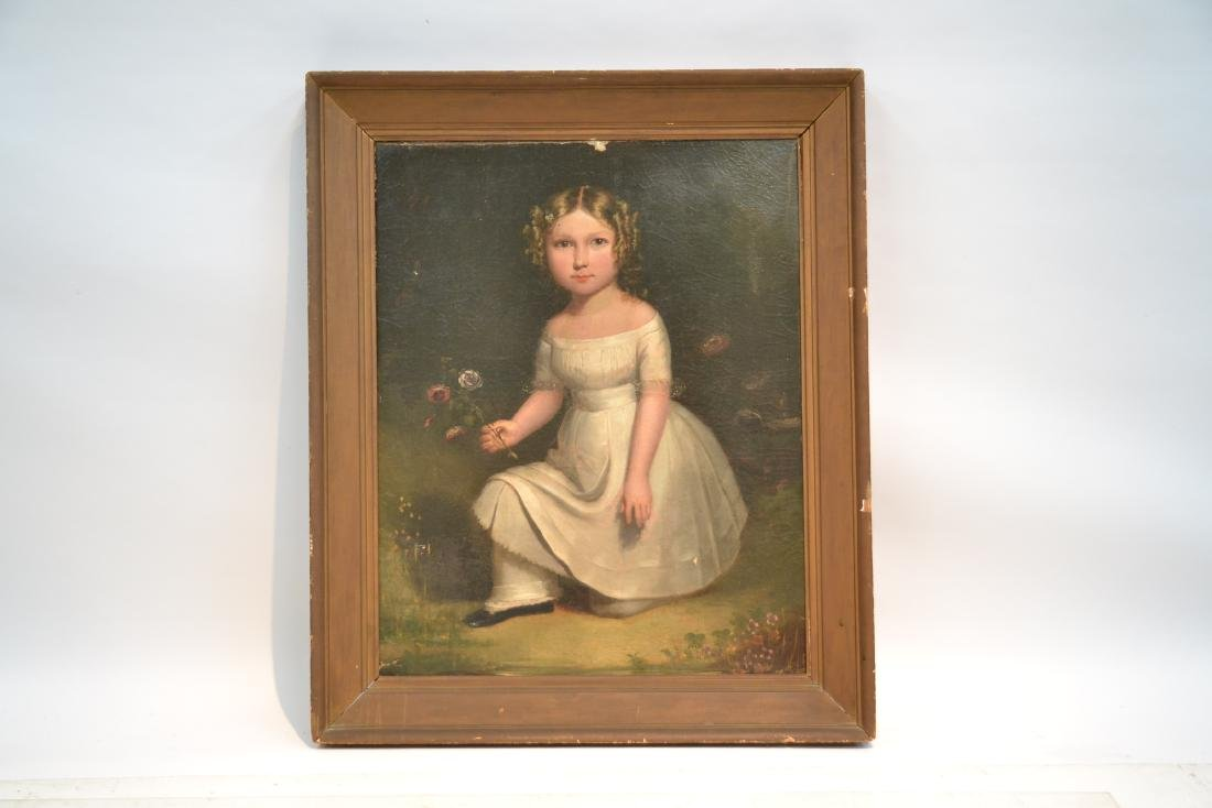 19thC OIL ON CANVAS PORTRAIT OF GIRL WITH FLOWERS - 3