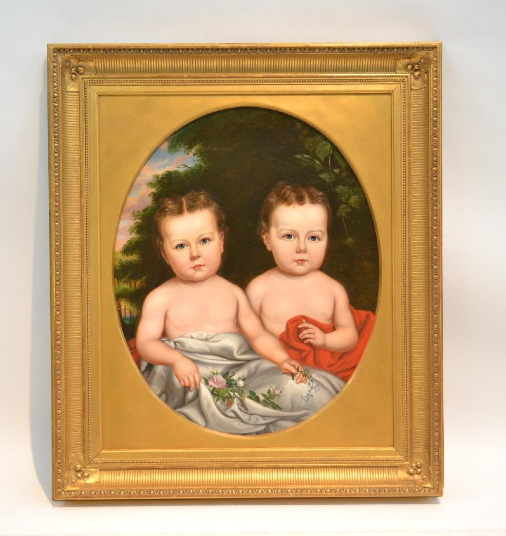 19thC OVAL OIL ON CANVAS PORTRAIT OF TWINS