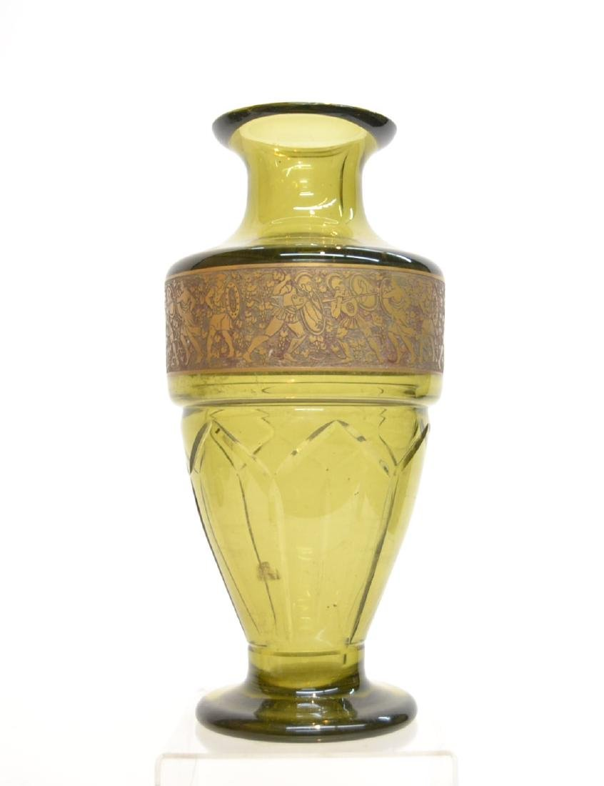MOSER GLASS VASE WITH FIGURAL GOLD DECORATIONS