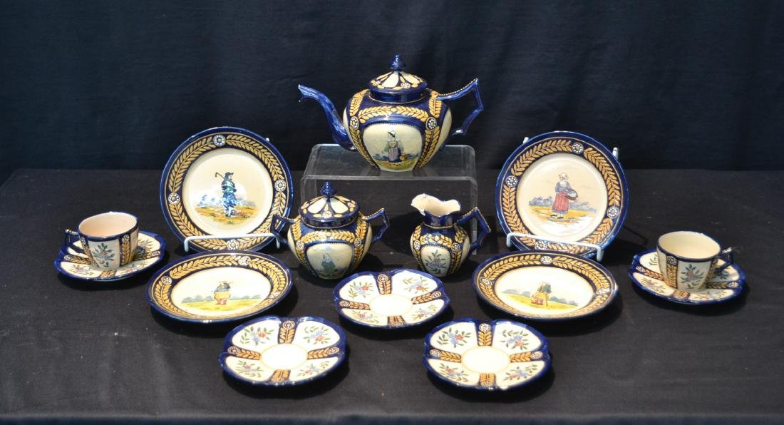 (13)pc FRENCH HENRIOT QUIMPER POTTERY