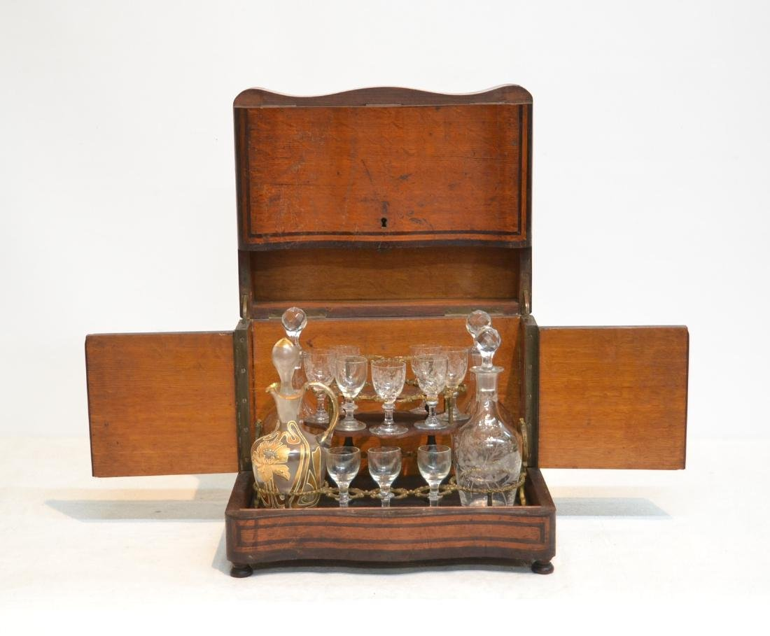 19thC TANTALUS SET WITH INLAID MOTHER OF PEARL