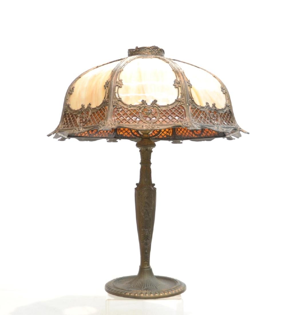 2-TONE BENT SLAG GLASS TABLE LAMP WITH