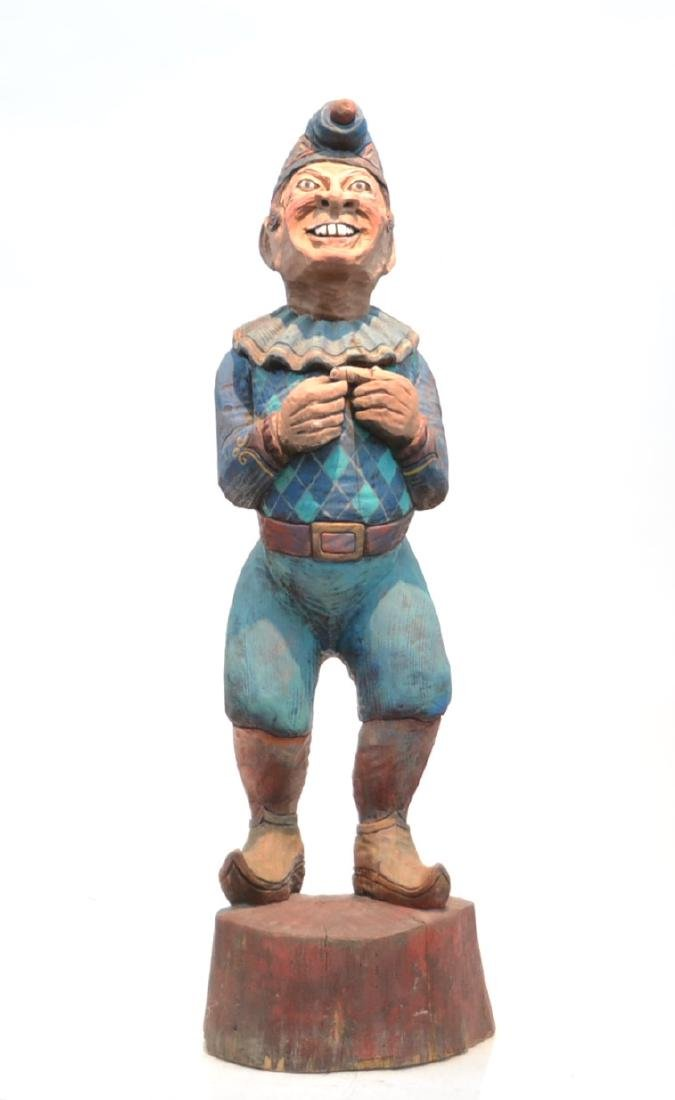 PETE WING , PUNCH & JUDY STYLE CARVED WOOD FIGURE