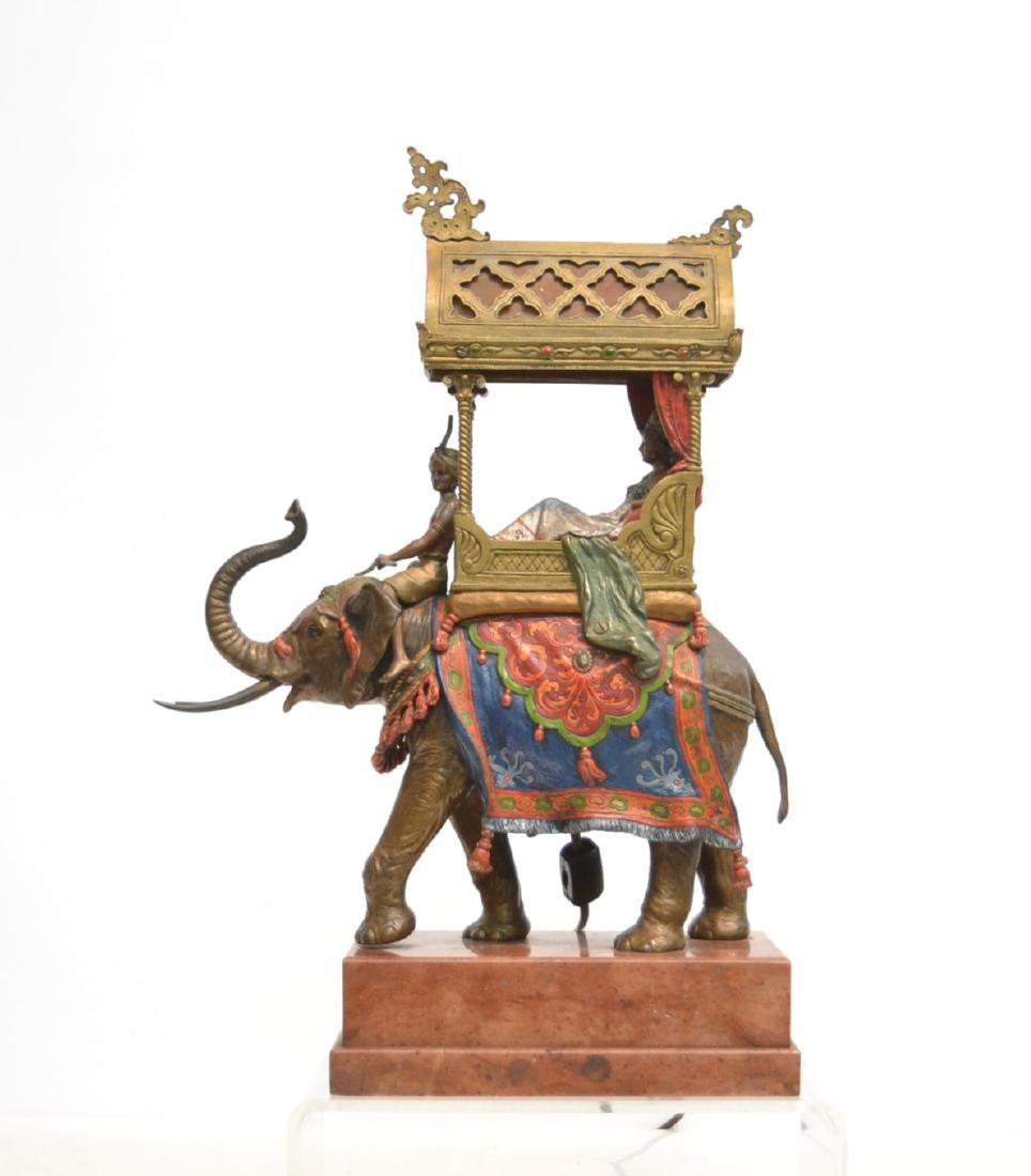 LARGE COLD PAINTED AUSTRIAN BRONZE ELEPHANT LAMP