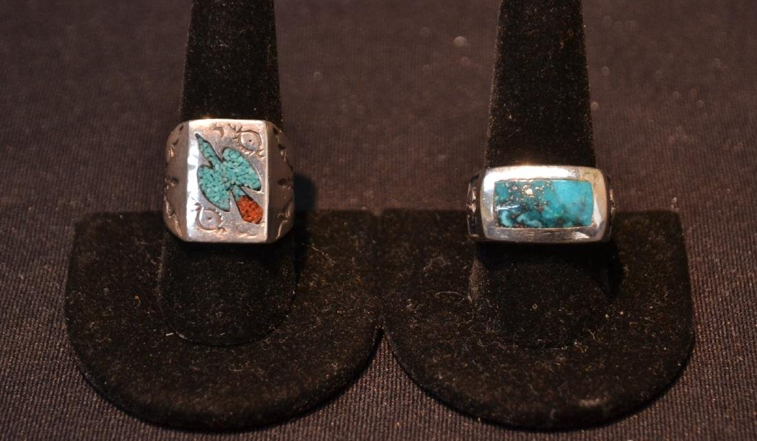 (2) STERLING SILVER INDIAN HEAD RINGS