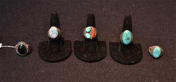 5 STERLING SILVER NATIVE AMERICAN RINGS WITH