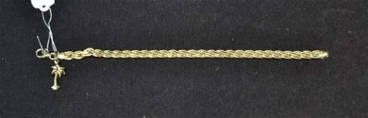 14kt GOLD BRACELET WITH PALM TREE CHARM