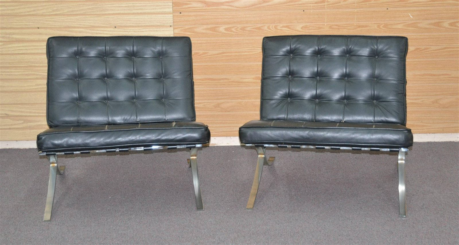 (Pr) LEATHER & CHROME BARCELONA STYLE CHAIRS