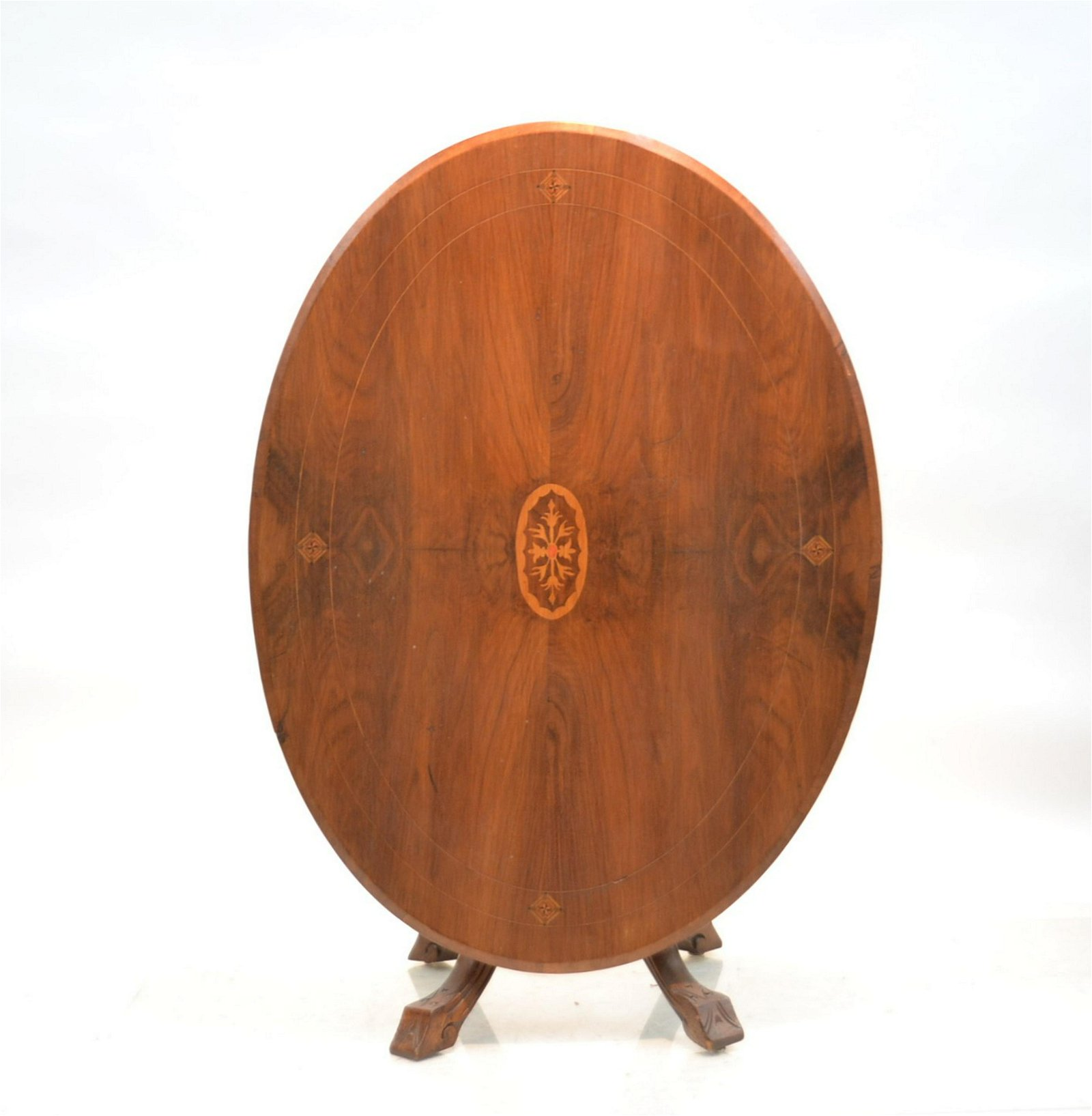 OVAL INLAID FLIP TOP TEA TABLE