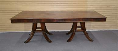 LARGE BANDED ROSEWOOD DINING ROOM TABLE
