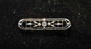 PLATINUM  14kt DIAMOND BAR PIN WITH PEARLS