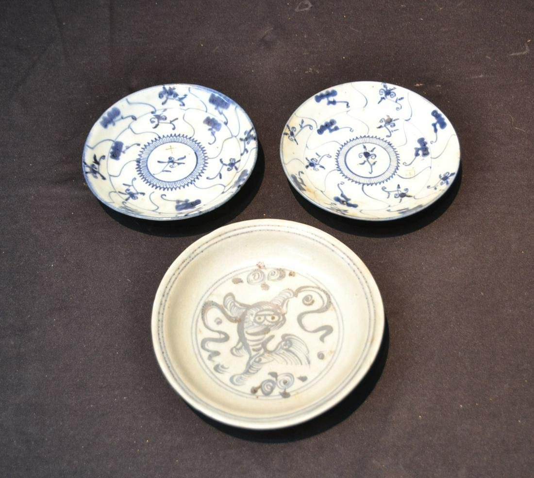 (3) BLUE & WHITE CHINESE PORCELAIN PLATES