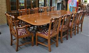 BANDED MAHOGANY DINING ROOM TABLE (10) CHAIRS