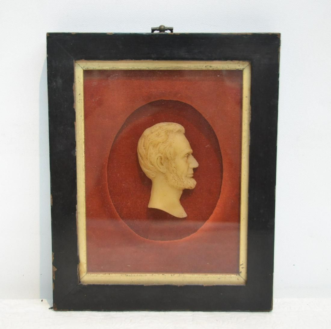 FRAMED WAX PROFILE BUST OF ABRAHAM LINCOLN