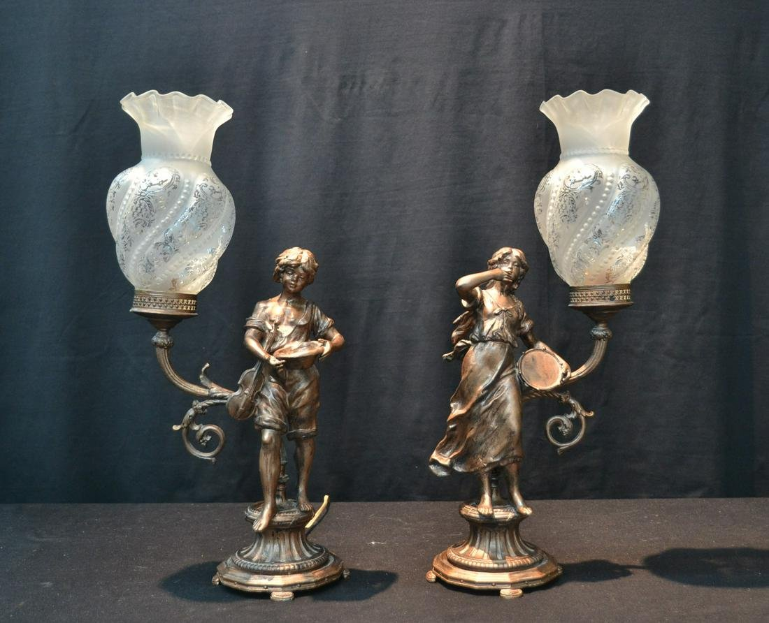 (Pr) GILT METAL FIGURAL LAMPS WITH GLOBES