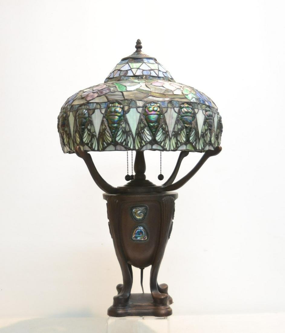 TIFFANY STYLE DRAGONFLY LEADED GLASS LAMP