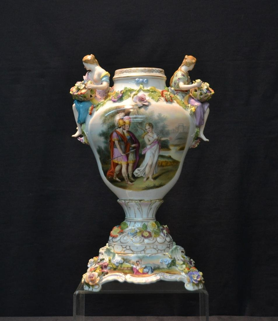 DRESDEN PORCELAIN URN WITH HAND PAINTED