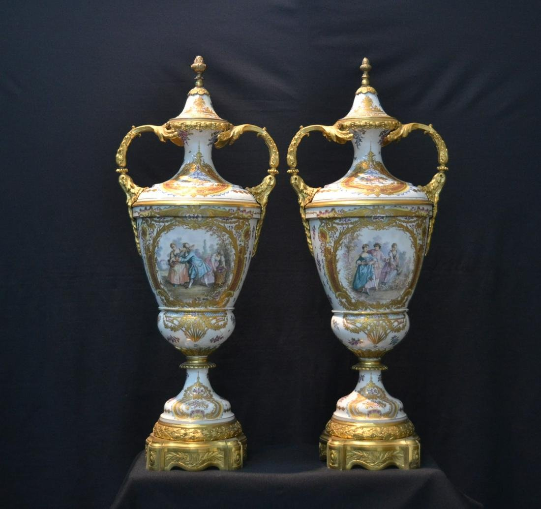 "(Pr) LARGE 31"" WHITE SEVRES & BRONZE COVERED URNS"