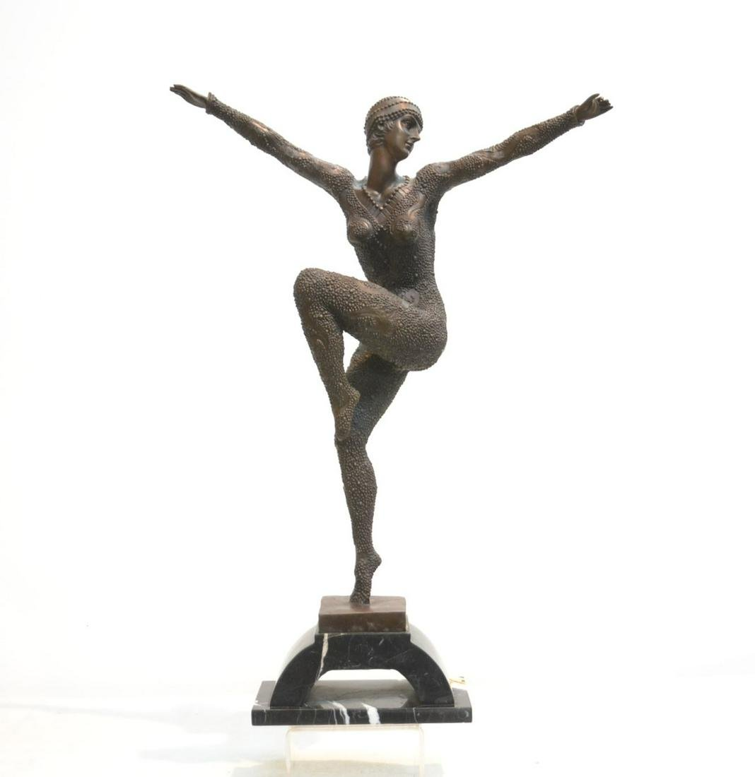 LARGE AFTER CHIPARUS BRONZE FLAPPER GIRL