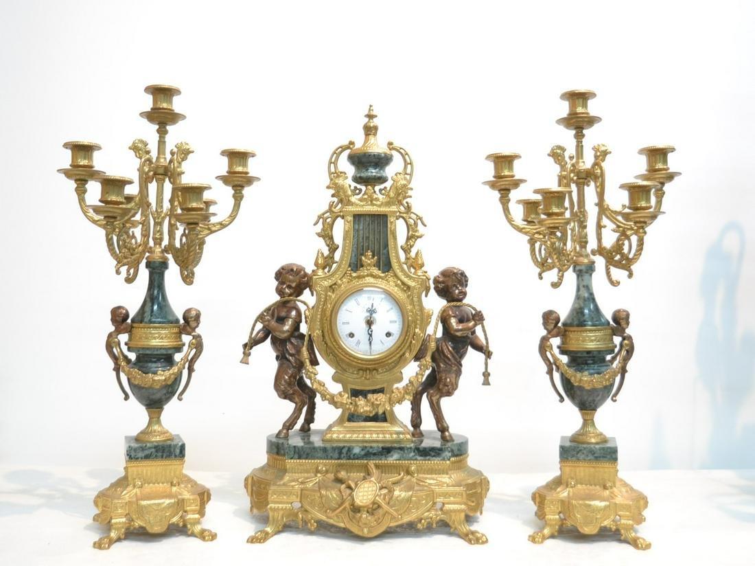 (3)pc IMPERIAL FIGURAL BRONZE & MARBLE CLOCK SET