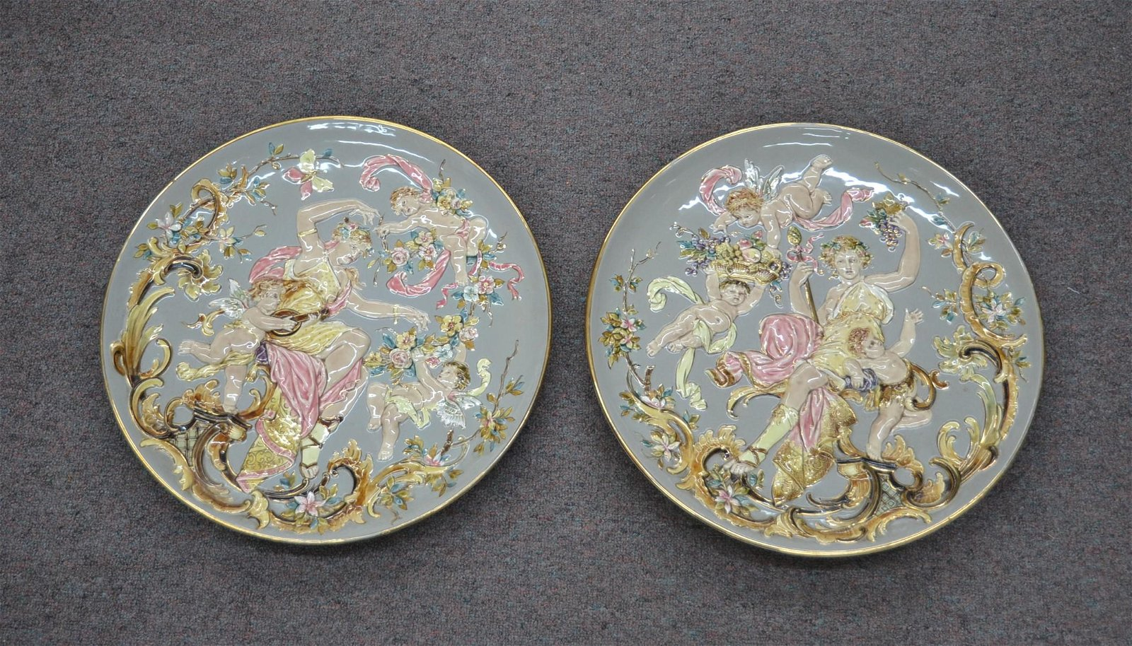 (Pr) MAJOLICA FIGURAL CHARGERS