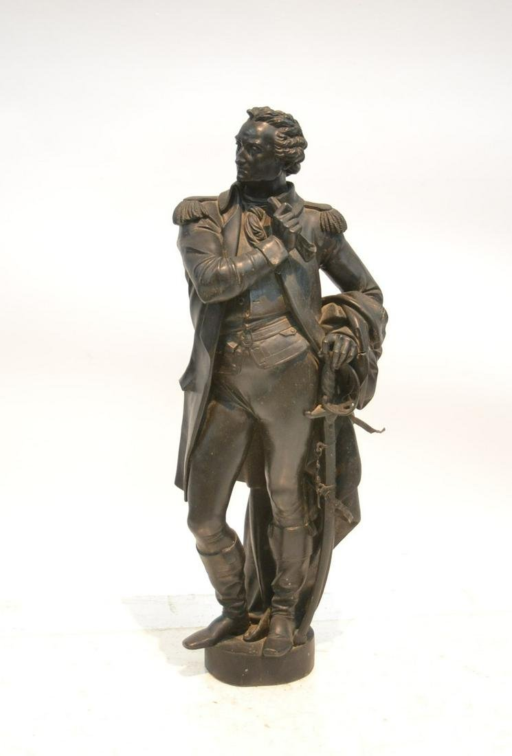 LARGE PATINATED SPELTER SCULPTURE OF GENERAL