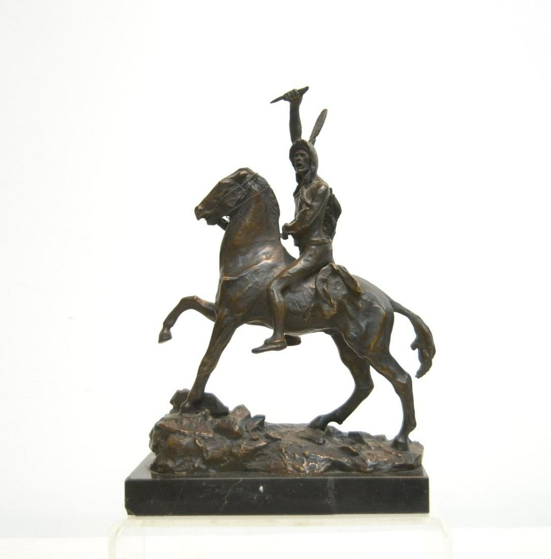 """AFTER REMINGTON BRONZE INDIAN ON HORSE """"SCALP"""""""