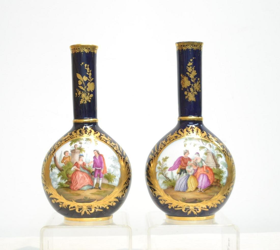 (Pr) GERMAN COBALT & GOLD PORCELAIN VASES