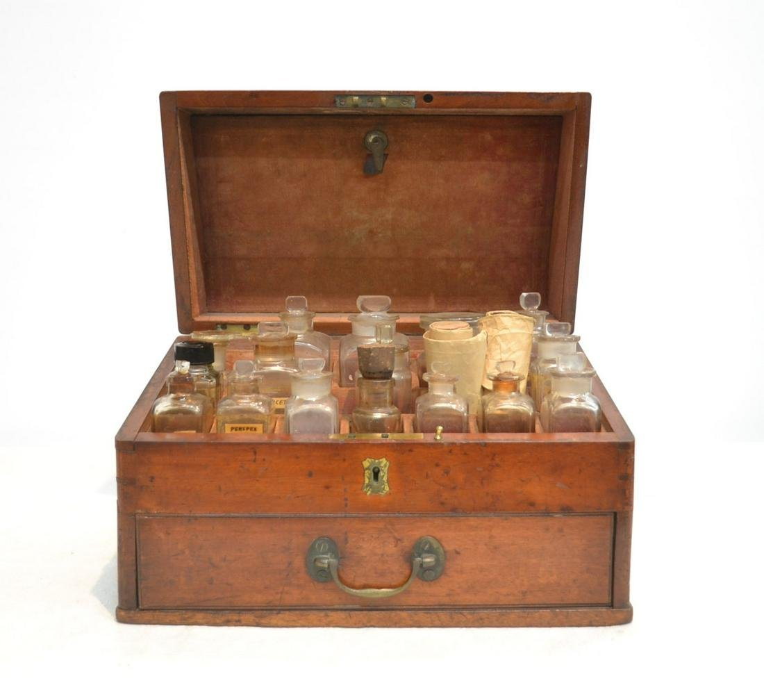 19thC ENGLISH MEDICAL BOX WITH APOTHECARY