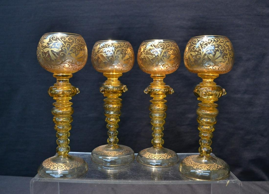 (4) BOHEMIAN GLASS GOBLETS WITH GOLD DECORATIONS