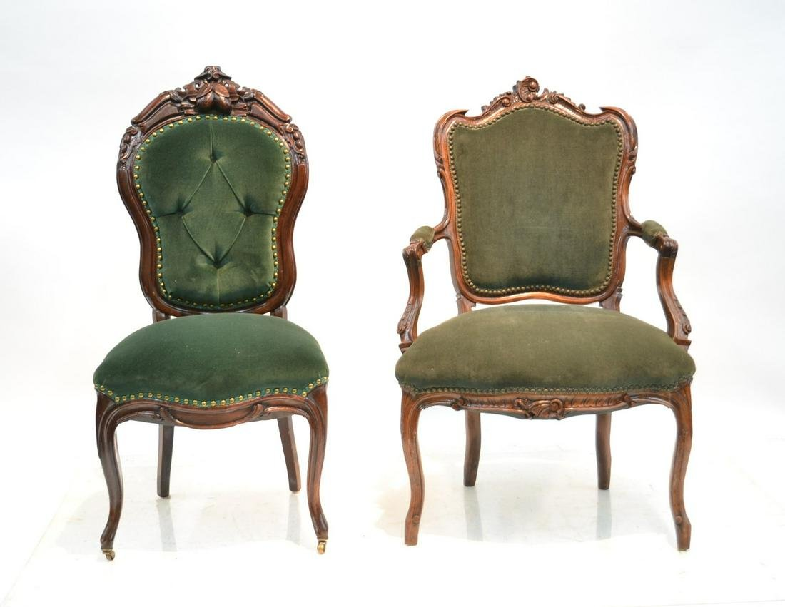 VICTORIAN CARVED ARM CHAIR & SIDE CHAIR