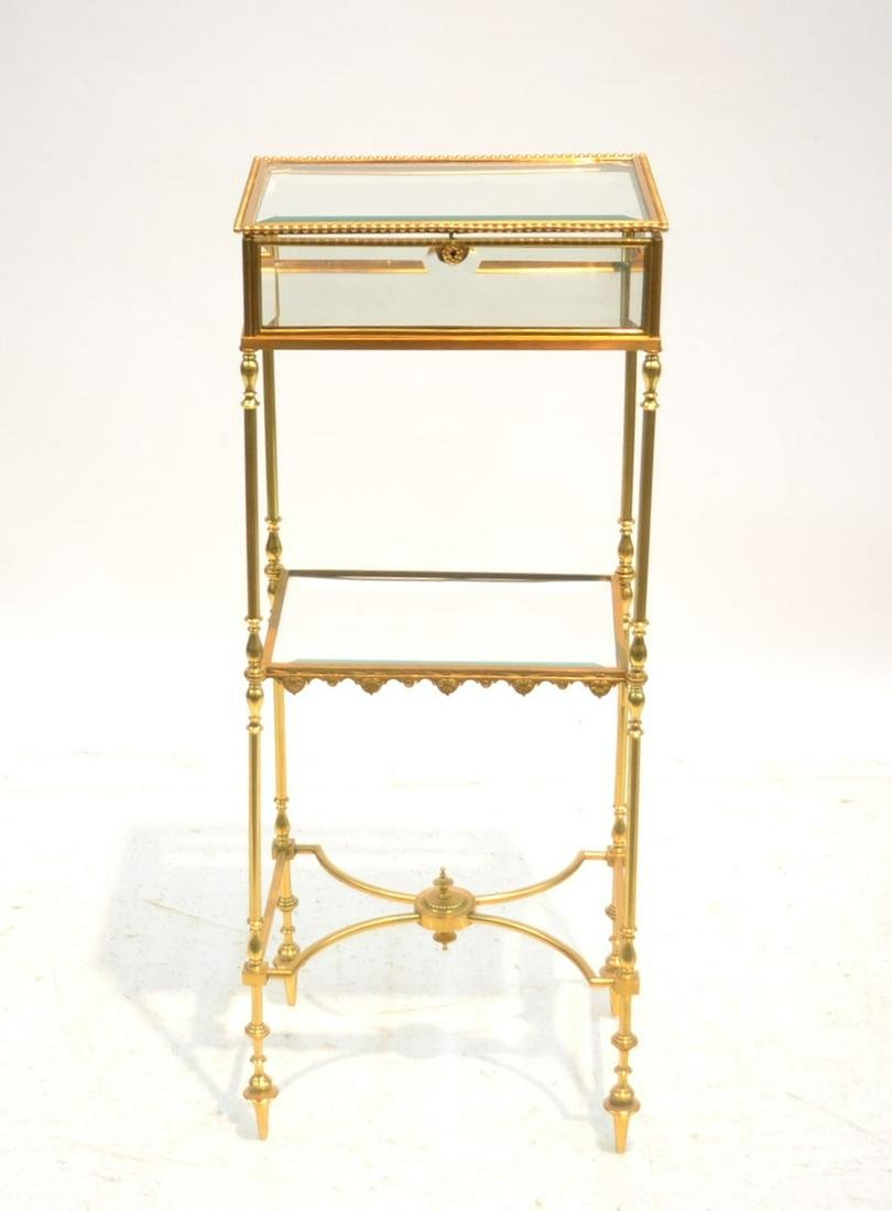 BRONZE BEVELED GLASS DISPLAY CABINET SIDE TABLE
