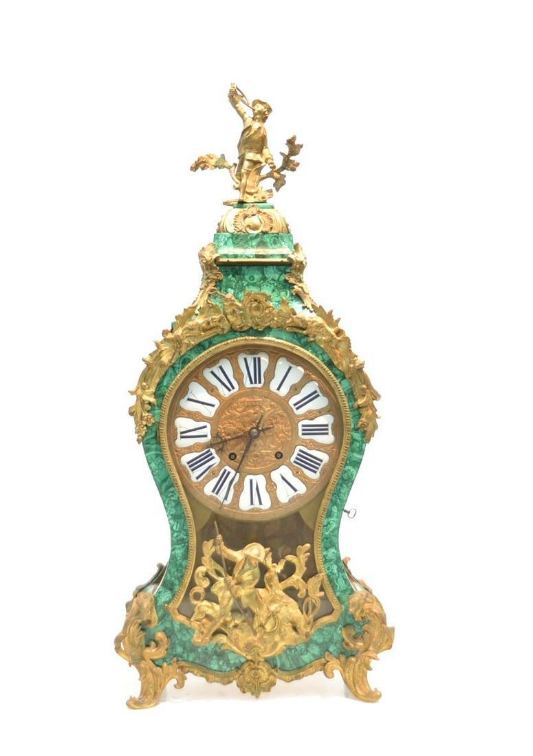 MONGINOT A PARIS , LARGE MALACHITE BRACKET CLOCK