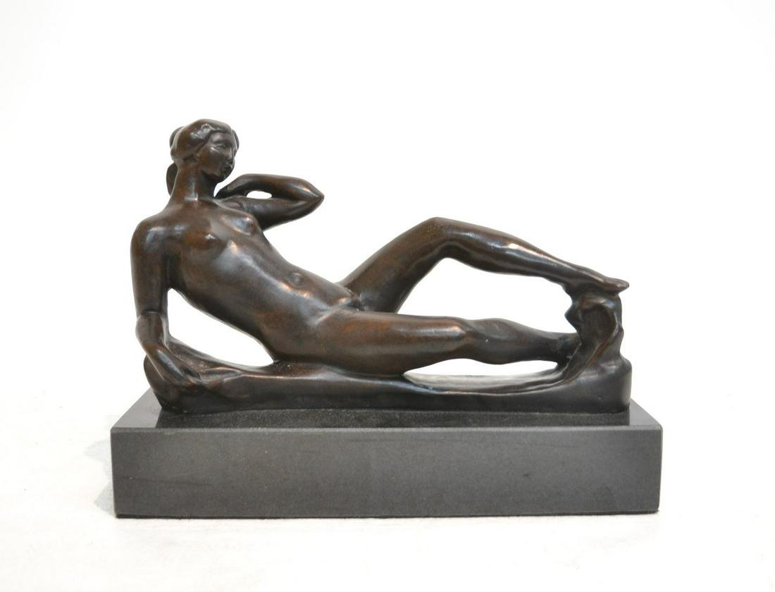 BRONZE RECLINING WOMAN , INITIALED