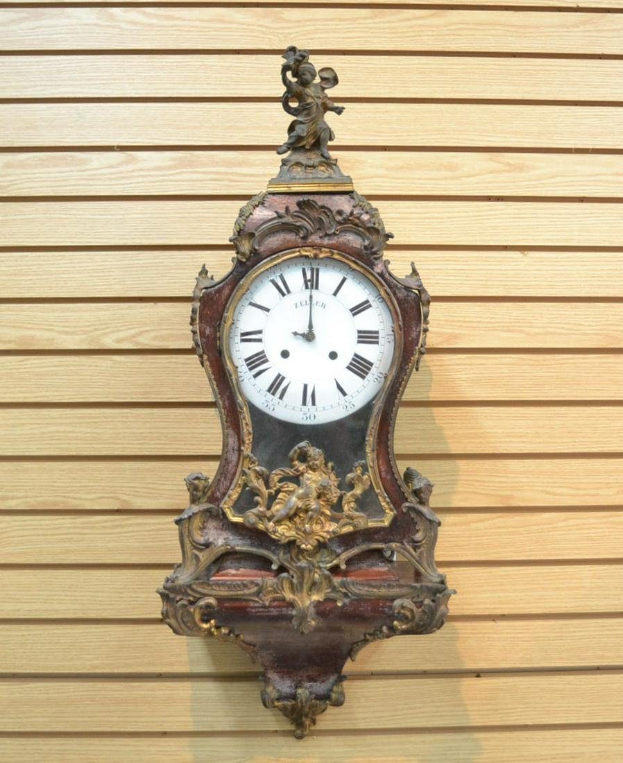 19thC FRENCH BRACKET CLOCK WITH FIGURAL BRONZE