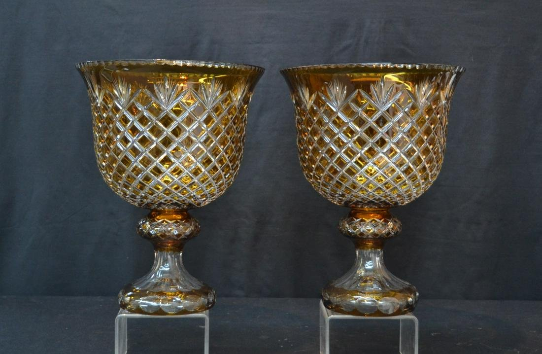 (Pr) LARGE BOHEMIAN AMBER CUT TO CLEAR GLASS URNS