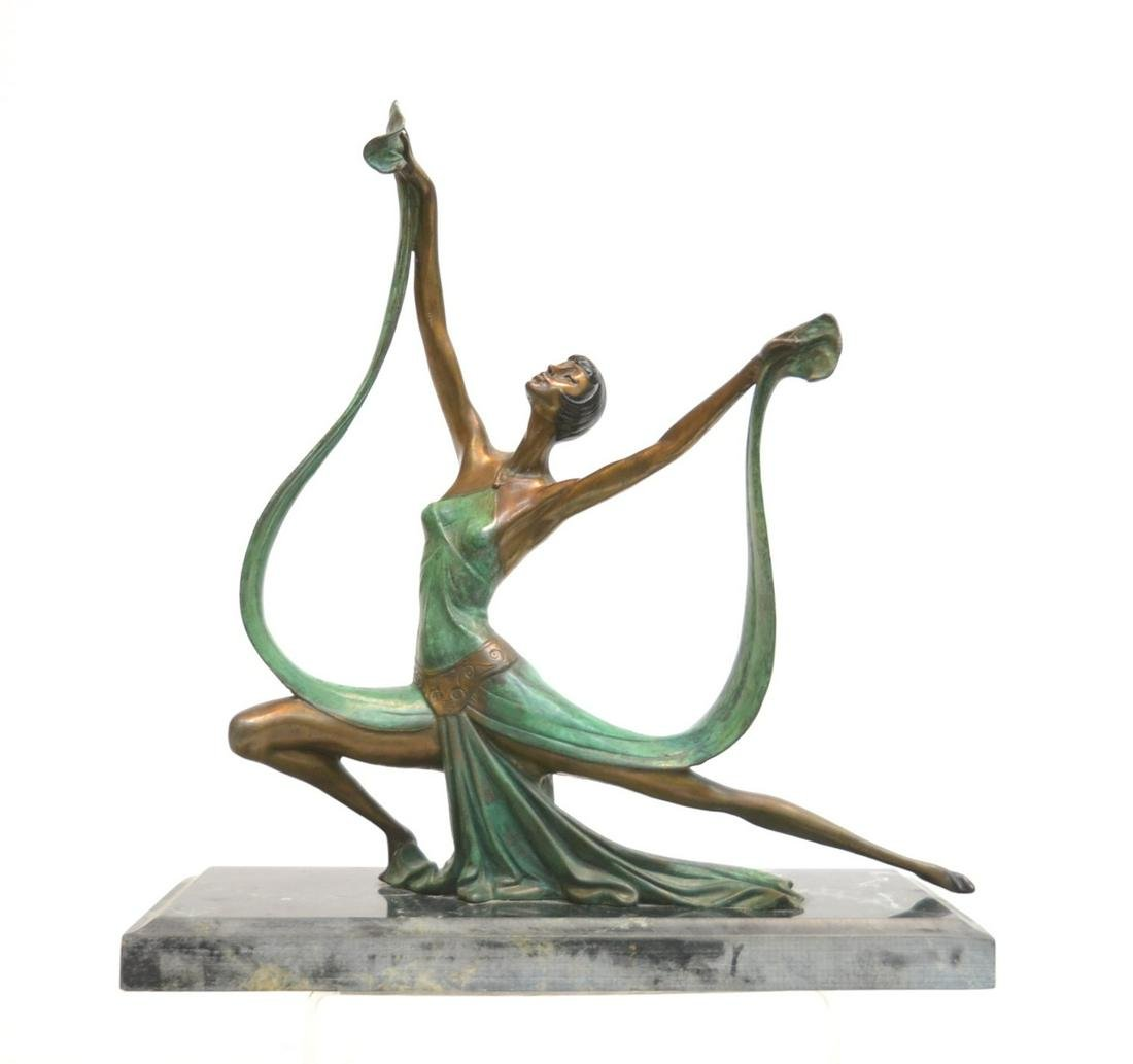 ART DECO STYLE COLD PAINTED BRONZE DANCER