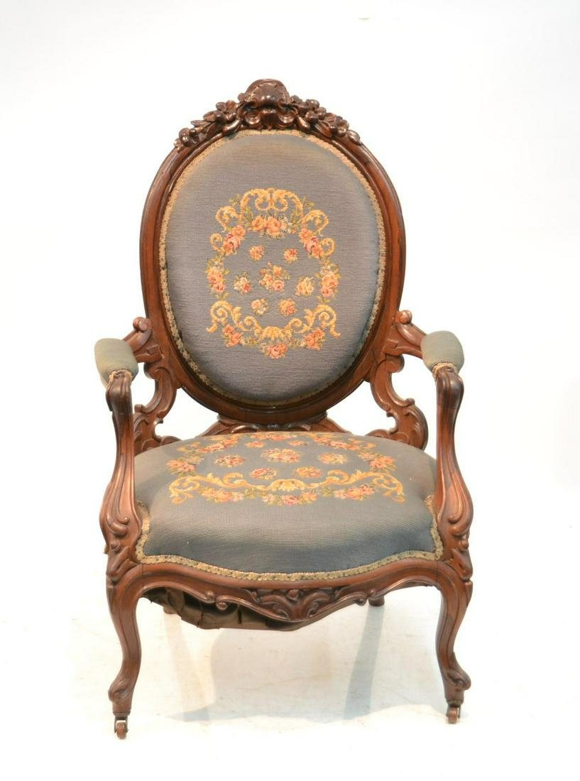 CARVED LAMINATED ROSEWOOD ARM CHAIR