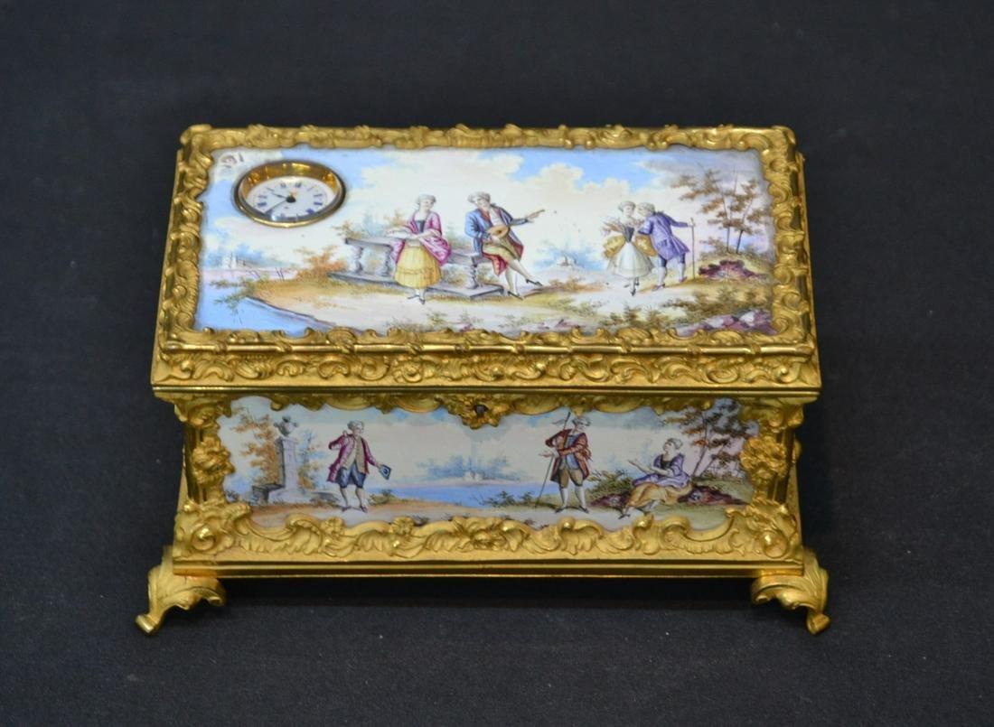 VIENNESE ENAMEL & BRONZE BOX WITH CLOCK