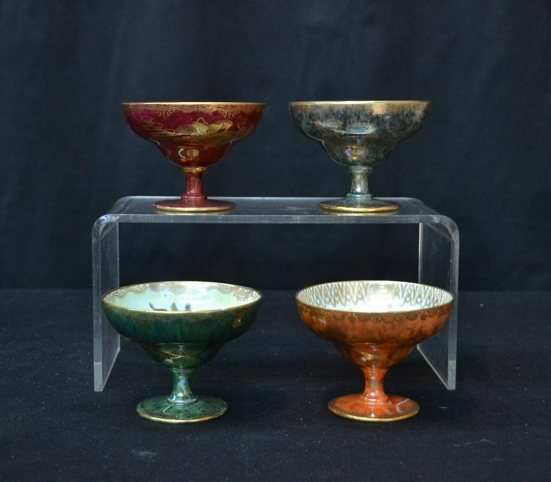 (4) WEDGWOOD FAIRYLAND LUSTRE COMPOTES WITH