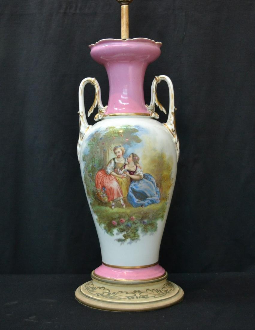 OLD PARIS PORCELAIN TWIN HANDLE VASE LAMP