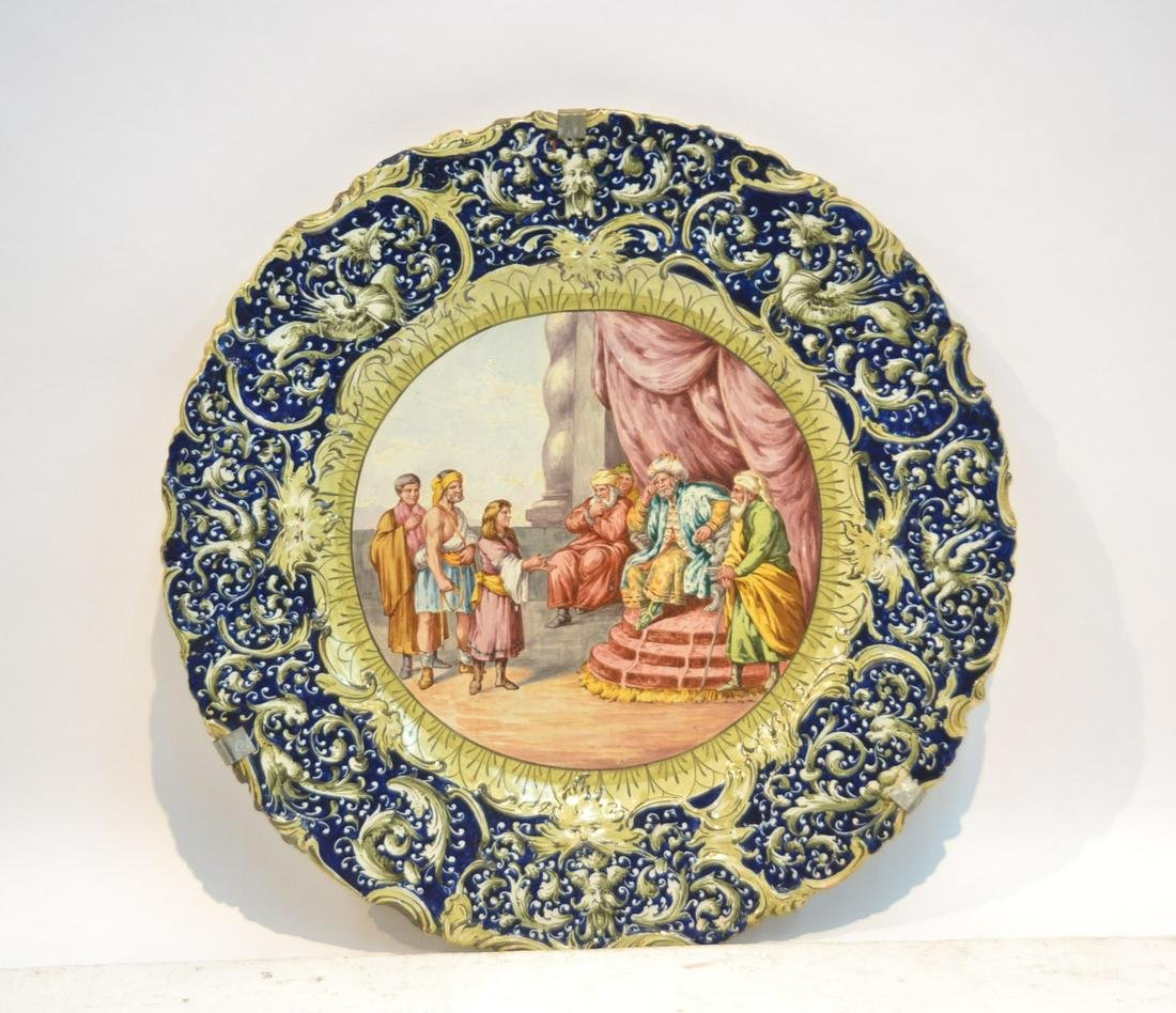 LARGEANTIQUE  ITALIAN MAJOLICA  CHARGER WITH