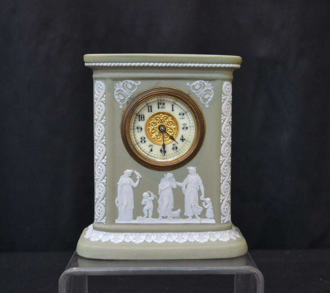 GREEN WEDGWOOD CLOCK WITH