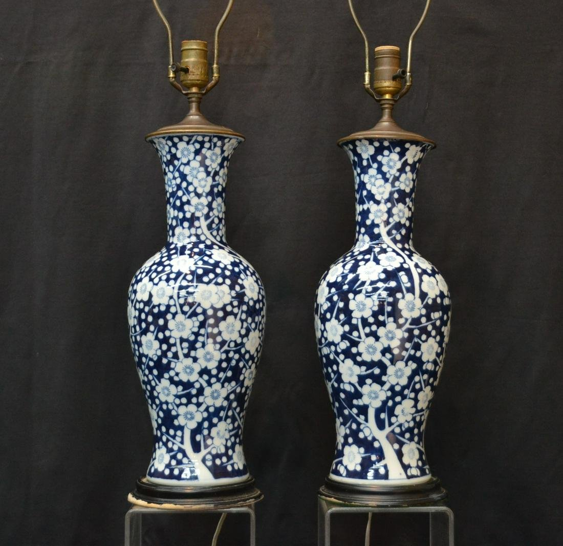 (Pr) CHINESE BLUE & WHITE PORCELAIN VASE LAMPS