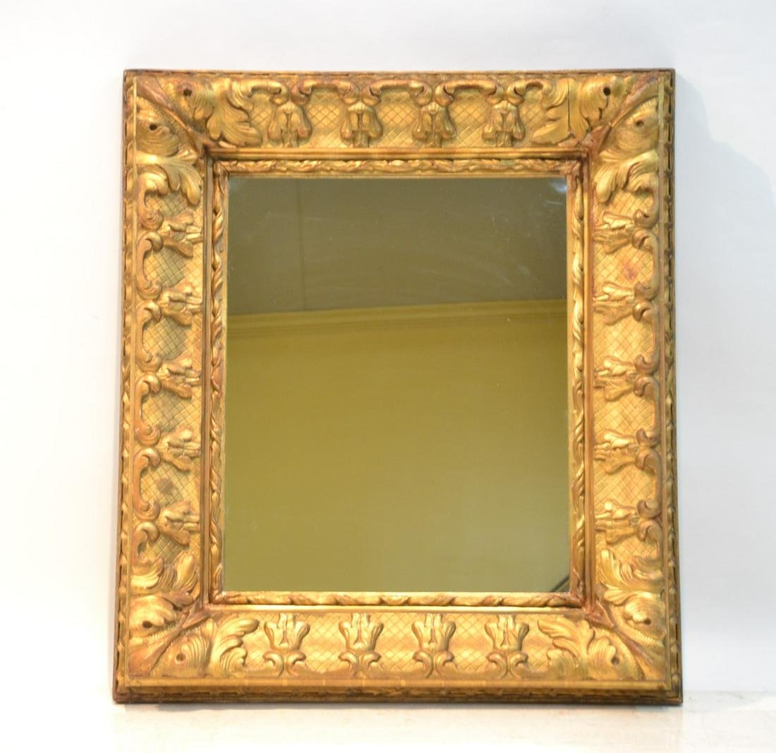 ANTIQUE CARVED GILTWOOD MIRROR