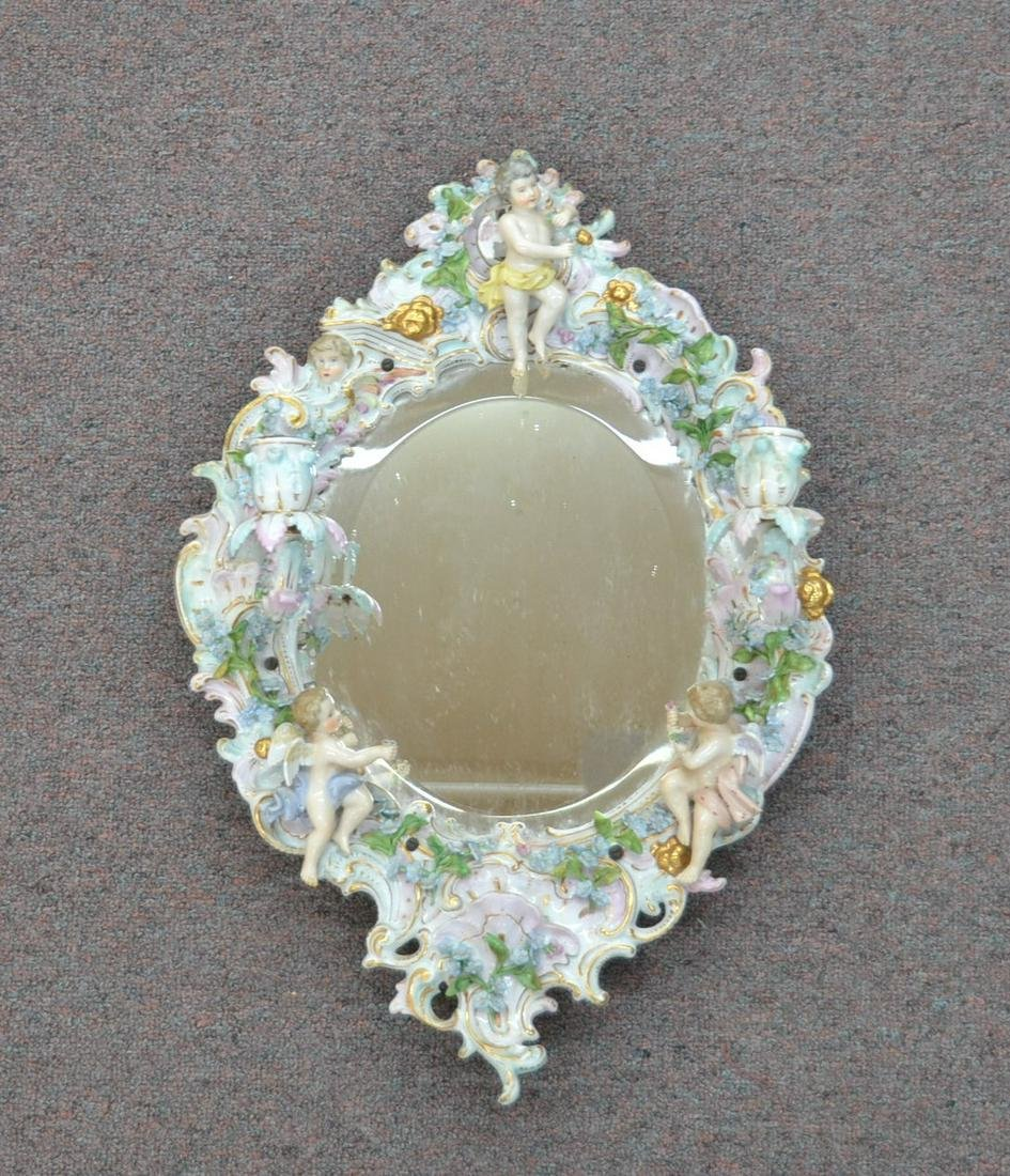 GERMAN PORCELAIN SCONCE MIRROR WITH